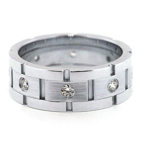 Men's Diamond  Wedding Band - Link Up - Moissanite Rings
