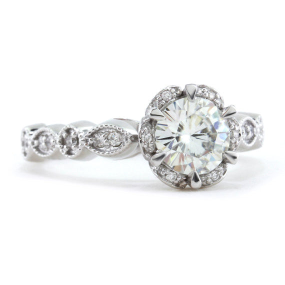 Vintage Style Floral Moissanite Engagement Ring - Blooming Bliss - Moissanite Rings