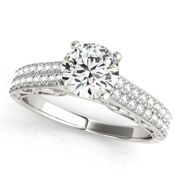 Double Diamond Band Moissanite Engagement Ring and Matching Diamond Wedding Band  - Delilah - Moissanite Rings