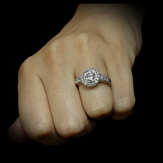 Bezel Set Moissanite Engagement Ring Carved Vintage Style - Kat - Moissanite Rings