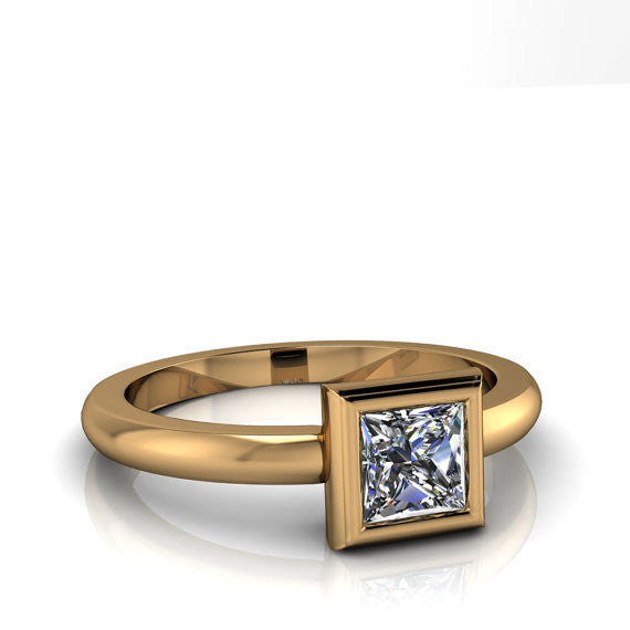 Princess Cut Moissanite Solitaire Engagement Ring - Priscilla - Moissanite Rings