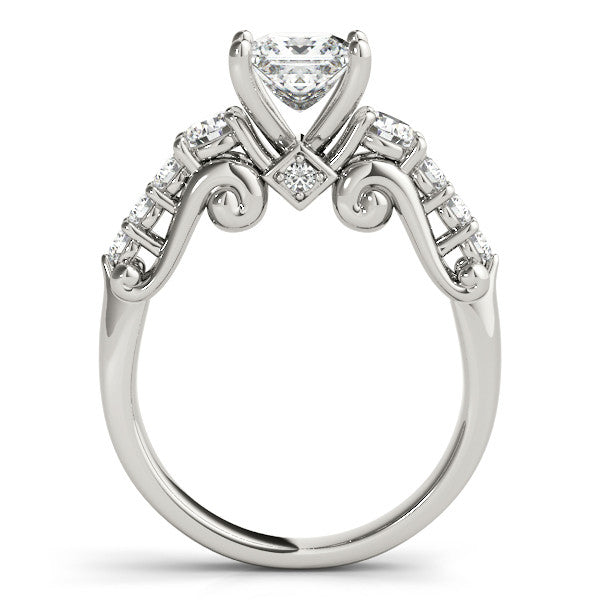 Engagement Ring Diamond Setting 1.75 ct Princess Cut Moissanite Center and Diamond Wedding Band - Renee - Moissanite Rings