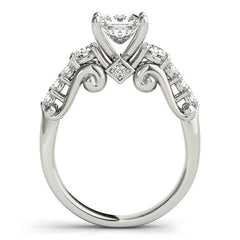 Engagement Ring Diamond Setting 1.75 ct Princess Cut Moissanite Center - Renee - Moissanite Rings