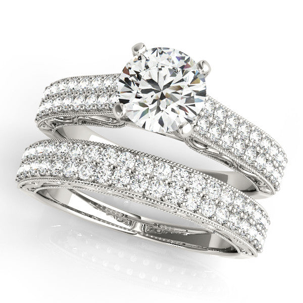 Moissanite and Diamond Wedding Set Engagement Ring and Wedding Band - Prett Set - Moissanite Rings