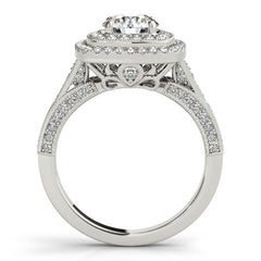 Double Halo Diamond Setting Moissanite Center - Dina - Moissanite Rings