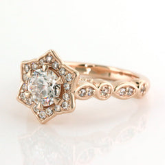Floral Halo Moissanite Engagement Ring - Sabrina - Moissanite Rings