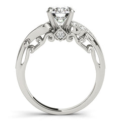 Vintage Style Diamond Setting Moissanite Center Engagement Ring - Seeds of Love - Moissanite Rings