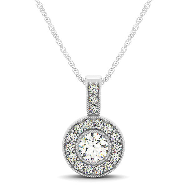 Round Bezel Set Moissanite Pendant Diamond Halo - Moissanite Rings