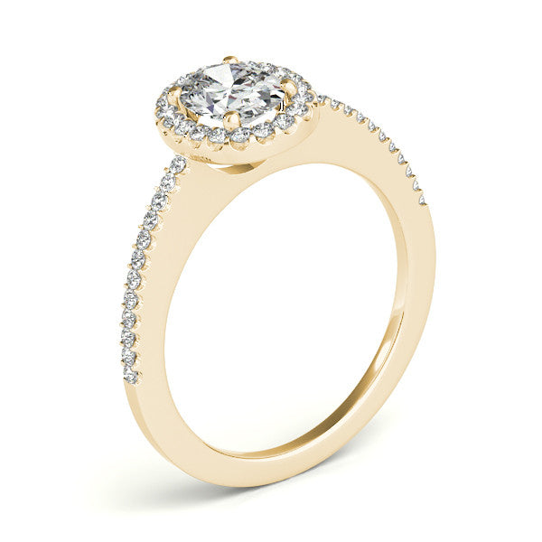Oval Moissanite Engagement Ring and Wedding Band Diamond Halo Setting - Olive - Moissanite Rings