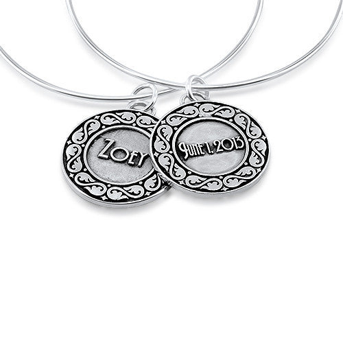 Personalized Name Double Sided Medallion Bracelet - Moissanite Rings