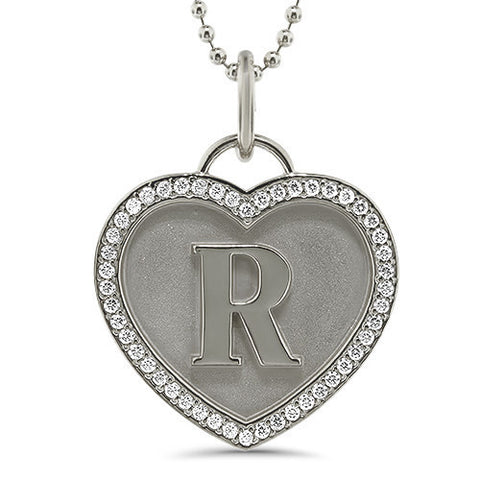 Personalized Initial Diamond Heart Necklace - Moissanite Rings