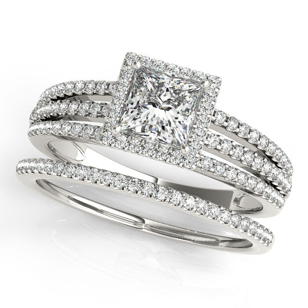 Princess Cut Wedding Set Diamond Halo Engagement Ring And Band
