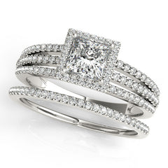 Princess Cut Wedding Set Diamond Halo Engagement Ring  and Wedding Band - Rain - Moissanite Rings