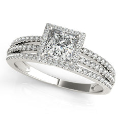 Princess Cut Moissanite Center Engagement Ring Diamond Setting - Rain - Moissanite Rings