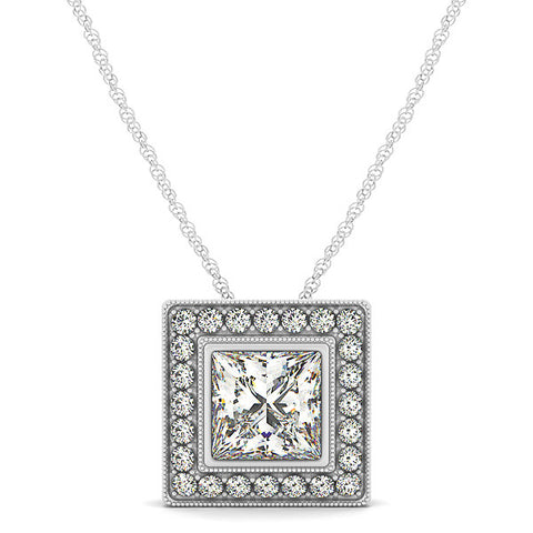 Princess Cut Moissanite Pendant Diamond Halo - Moissanite Rings