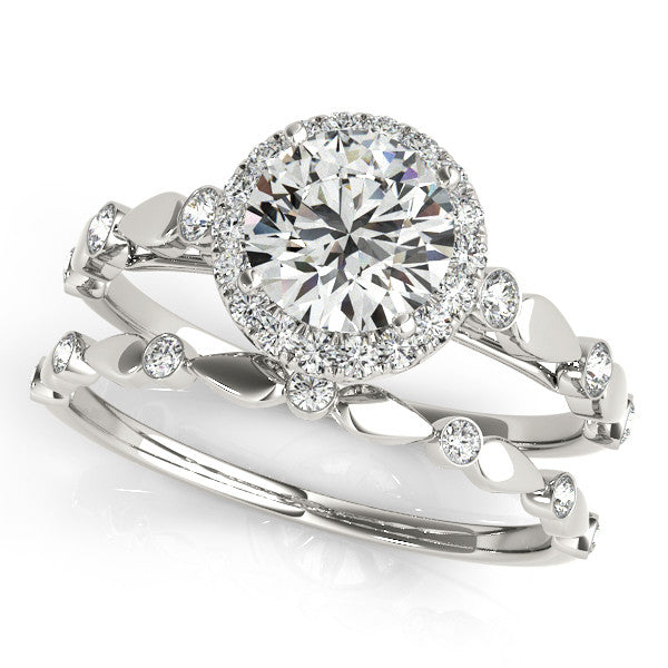 Round Moissanite Engagement Ring Diamond Setting with Matching Wedding Band- Twilight - Moissanite Rings