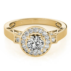 Sculpted Diamond Halo Moissanite Engagement Ring - - Moissanite Rings