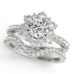Customized Diamond Halo Wedding Set - Snowflake - Moissanite Rings