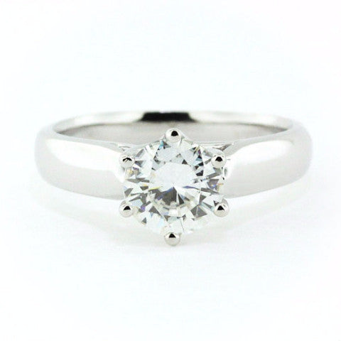 Six Prong Forever Brilliant Moissanite Solitaire Engagement Ring- - Moissanite Rings
