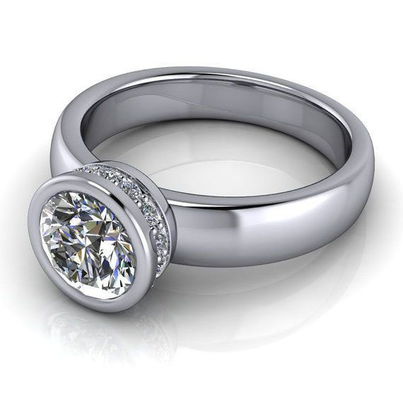 Bezel Set  8 mm Moissanite Solitaire Engagement Ring- Wrapped in Love - Moissanite Rings