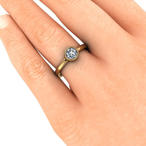 Bezel Set Solitaire Moissanite Engagement Ring - I Will - Moissanite Rings