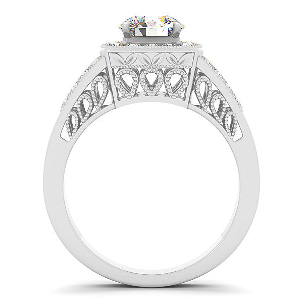 Squared Diamond Halo Vintage Style Engagement Ring - Bab - Moissanite Rings