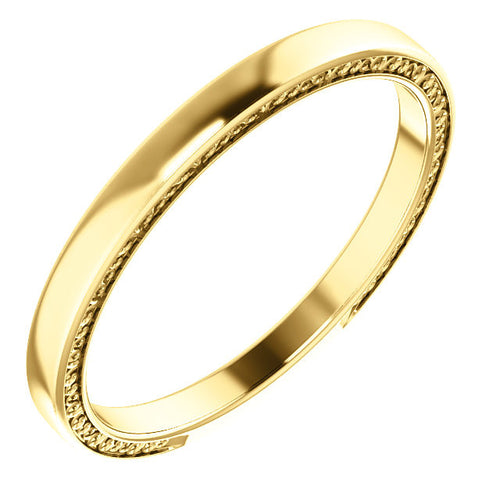 Surprise Engraving Plain Gold Wedding Band - Moissanite Rings
