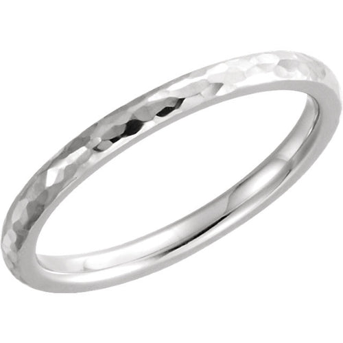 Thin Hammered Finish Wedding Band - Moissanite Rings