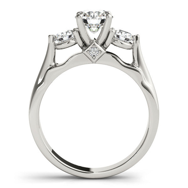 Three Stone Engagement Ring - May - Moissanite Rings
