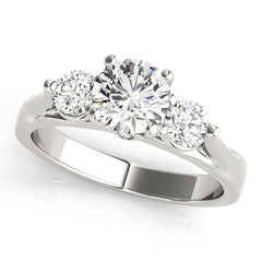 Three Stone Engagement Ring  and Diamond Wedding Band - May - Moissanite Rings