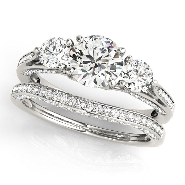 Three Stone Wedding Set Moissanite Engagement and Diamond Wedding Band - Trina - Moissanite Rings