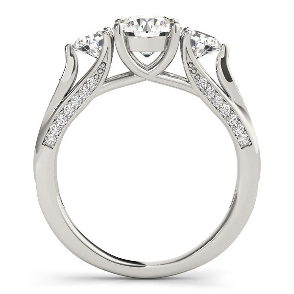 Three Stone Moissanite Engagement Ring - Trina - Moissanite Rings