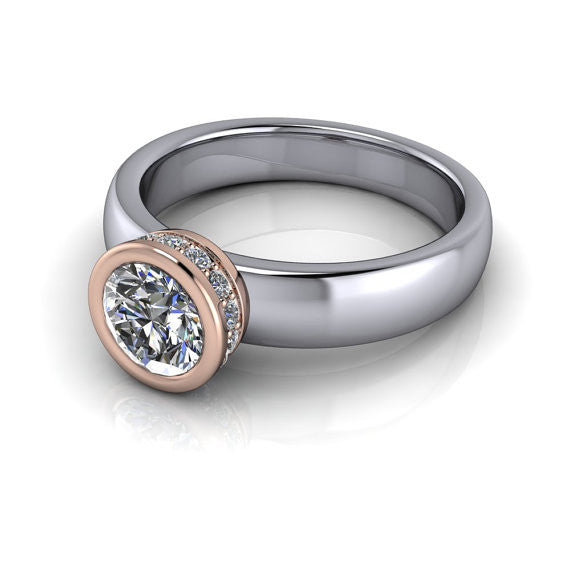 Two Tone Bezel Set  Moissanite Solitaire Engagement Ring- Wrapped in Love II Rose and White - Moissanite Rings