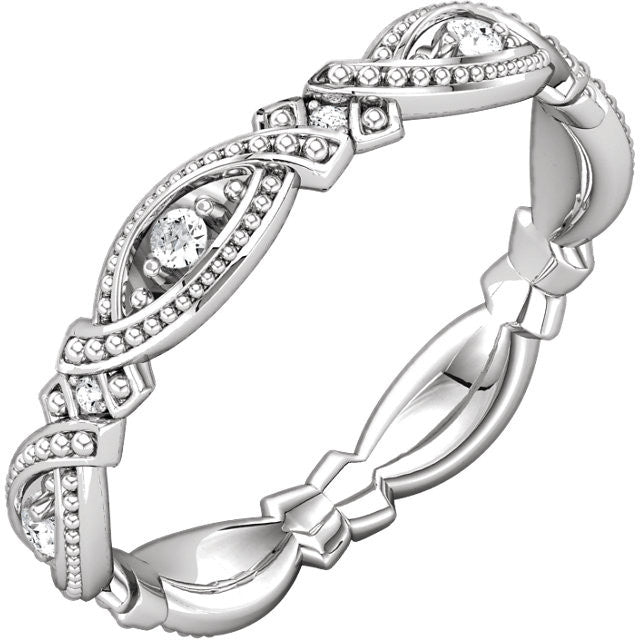 Unique Vintage Style Eternity Band - Moissanite Rings