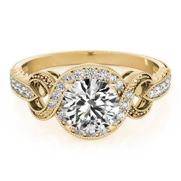 Vintage Inspired Moissanite and Diamond Engagement Ring - Vine - Moissanite Rings
