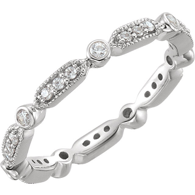 Vintage Style Diamond Eternity Band - Moissanite Rings