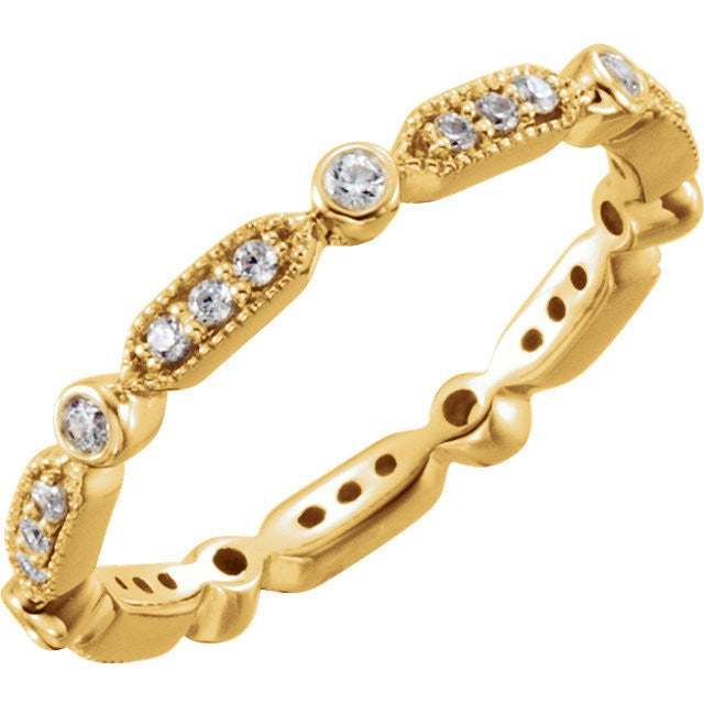 Vintage Style Diamond Eternity Band 18K Gold - Moissanite Rings