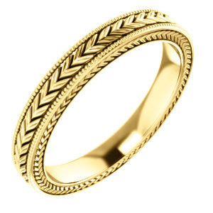 Engraved Solid Gold Wedding Band - Moissanite Rings