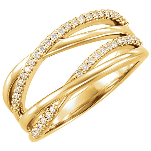 Yellow Gold Criss Cross Diamond Ring - Moissanite Rings
