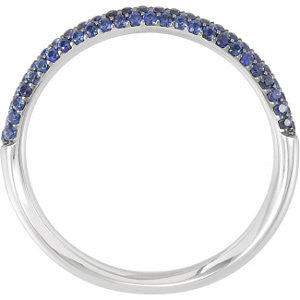 Blue Sapphire Pave Band - Blue Band - Moissanite Rings
