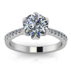 Floral Head Diamond Setting Moissanite Center Engagement Ring - Poppy - Moissanite Rings