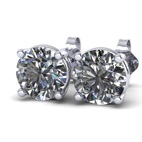 Forever One Moissanite Stud Earrings (4 prongs) - Moissanite Rings