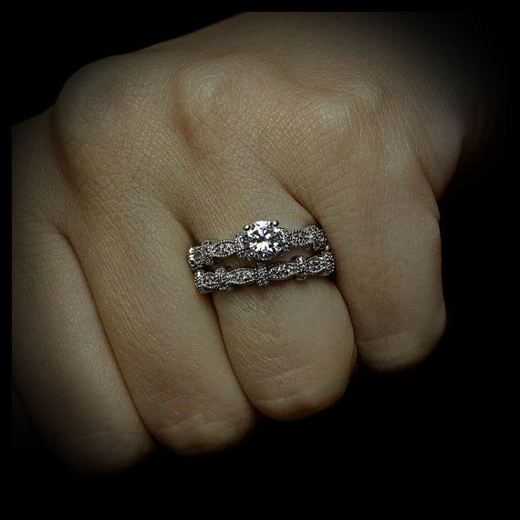 Diamond Accented Moissanite Engagement Ring - Vix - Moissanite Rings