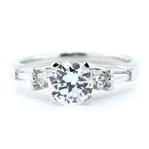 Baguette and Round Diamond Side Stone Moissanite Engagement Ring - Tink - Moissanite Rings