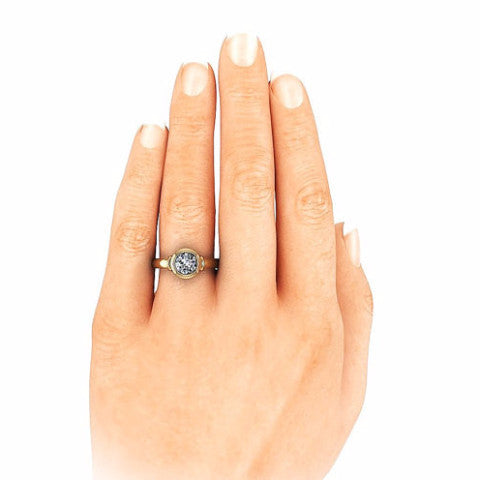 Forever One Moissanite Solitaire Engagement Ring - Bezeled Beauty - Moissanite Rings