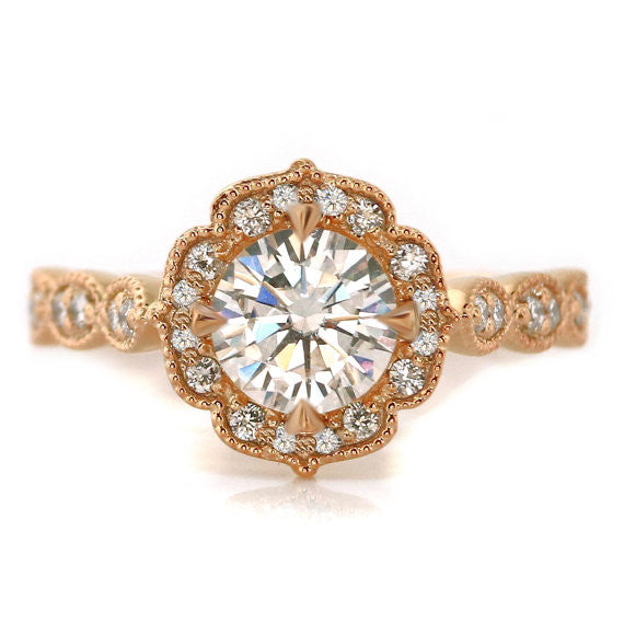 Rose Gold Vintage Style Moissanite Engagement Ring Maria