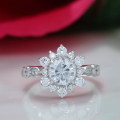 Vintage Band Snowflake Engagement Ring Diamond Setting Moissanite Center - Vintage Snowflake - Moissanite Rings
