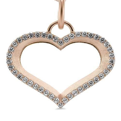 Diamond Outline Heart Necklace - Moissanite Rings