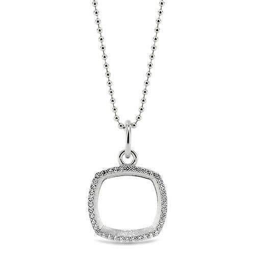 Diamond Cushion Shaped Outline Pendant - Moissanite Rings