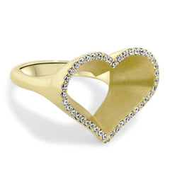 Diamond Open Heart Ring - Moissanite Rings